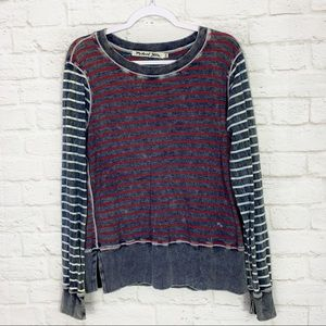 Michael Stars Acid Wash Distressed Striped Thermal